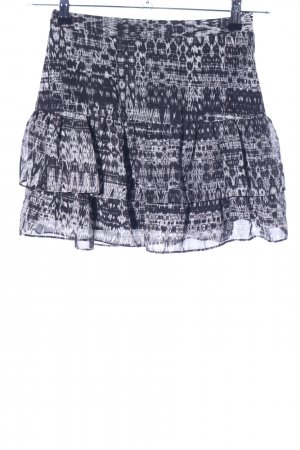 H&M Flounce Skirt black-white abstract pattern casual look
