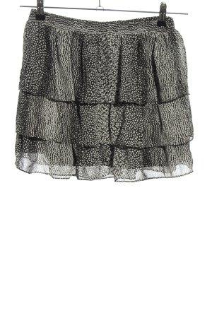 H&M Jupe à volants noir-blanc motif abstrait style décontracté