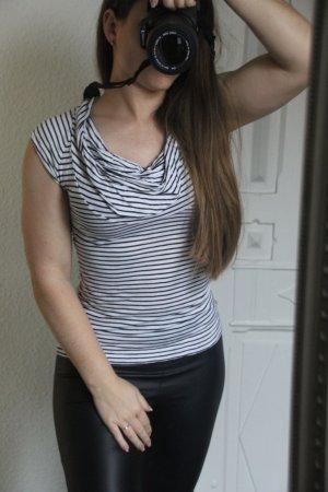 H&M Cowl-Neck Shirt black-white