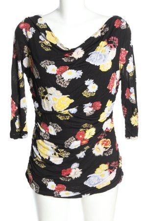 H&M Koszulka z dekoltem woda Wzór w kwiaty W stylu casual