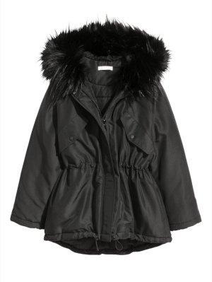 H&M wattierter Parka, Winterjacke in Schwarz XS