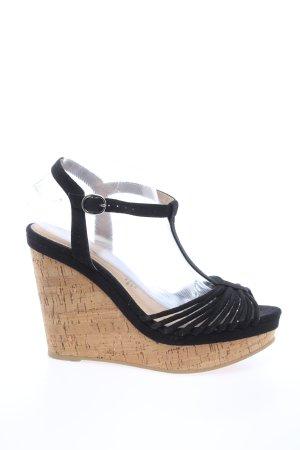 H&M Sandały klinowe na obcasie kremowy-czarny W stylu casual