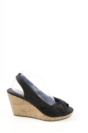 H&M Wedges Sandaletten schwarz-creme Casual-Look
