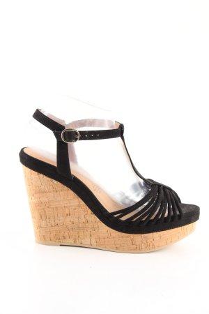 H&M Wedges Sandaletten schwarz-nude Casual-Look