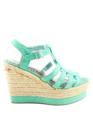 H&M Wedges Sandaletten türkis-wollweiß Casual-Look