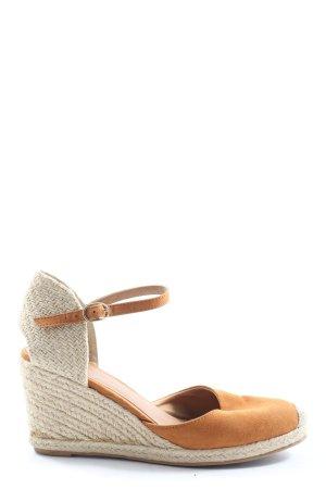 H&M Wedges Sandaletten hellorange-weiß Elegant