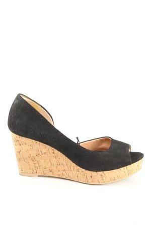H&M Sandały klinowe na obcasie czarny-kremowy W stylu casual
