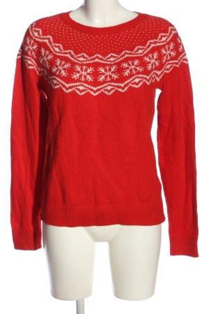 H&M Sudadera navideña rojo-blanco estampado gráfico look casual