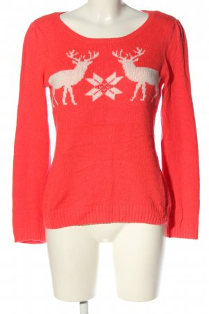 H&M Christmasjumper pink-natural white themed print casual look