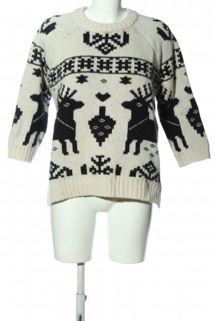 H&M Christmasjumper white-black themed print casual look