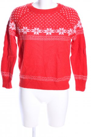 H&M Christmasjumper red-white allover print casual look