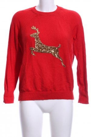 H&M Christmasjumper bright red-gold-colored themed print casual look
