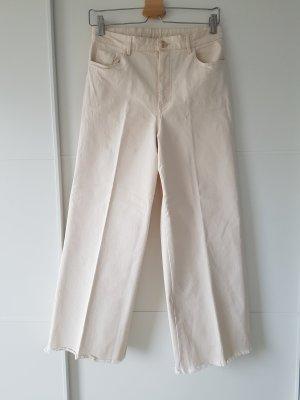 H&M weite Hose, 7/8 Länge, highwaist, cropped, creme/woolweiß, Gr.38