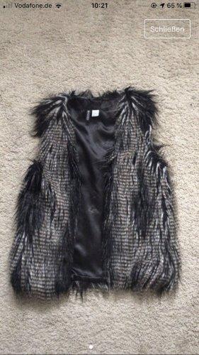 H&M Chaleco de piel negro-color plata
