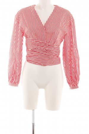 H&M Wraparound Blouse natural white-red striped pattern casual look