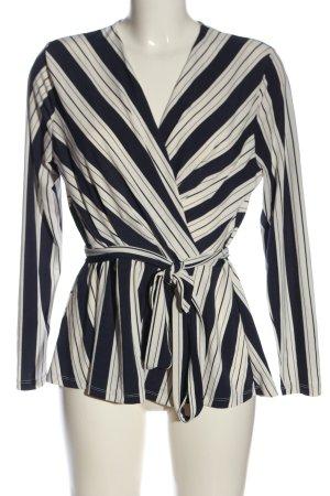 H&M Camicetta aderente blu-bianco motivo a righe stile casual