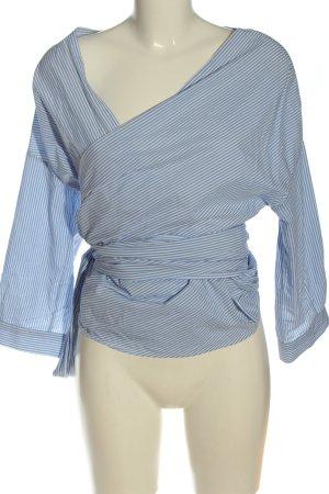 H&M Blusa cruzada blanco-azul estampado a rayas look casual