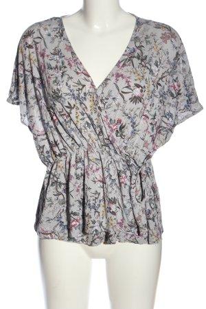 H&M Blusa cruzada gris claro-rosa estampado repetido sobre toda la superficie