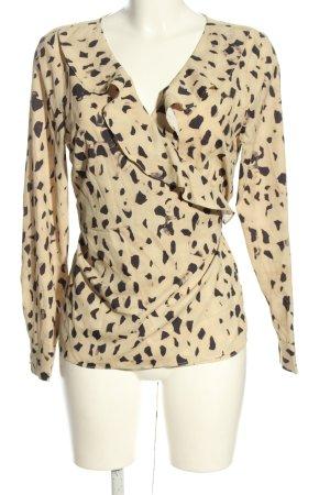 H&M Kopertowa bluzka kremowy-czarny Na całej powierzchni W stylu casual