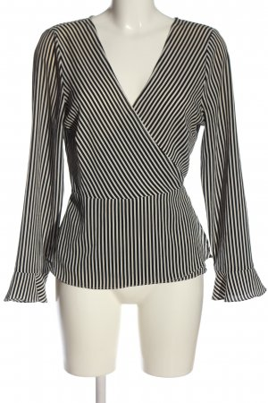 H&M Kopertowa bluzka biały-czarny Na całej powierzchni W stylu biznesowym