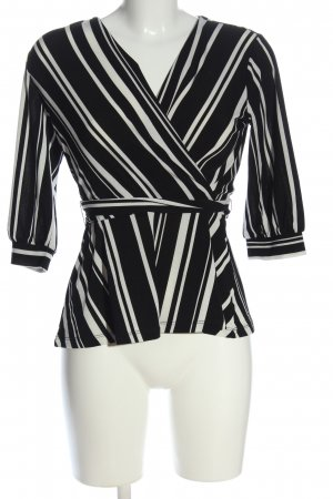 H&M Wikkelblouse zwart-wit gestreept patroon zakelijke stijl