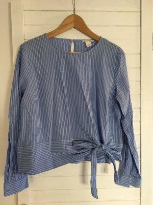 H&M Camicetta aderente bianco-azzurro