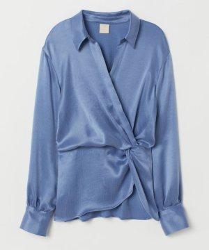 H&M Wickelbluse blau Gr.40