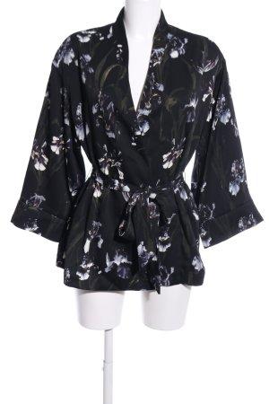 H&M Giacca aderente nero-grigio chiaro stampa integrale stile casual
