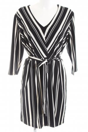 H&M Wickelkleid schwarz-weiß Streifenmuster Business-Look
