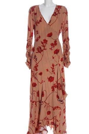 H&M Abito avvolgente color carne-rosso motivo floreale elegante