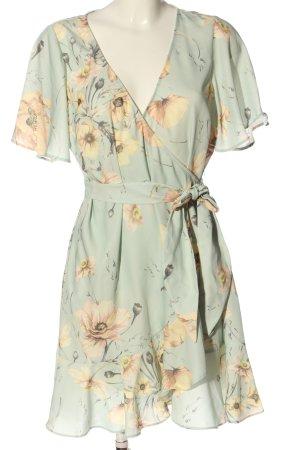 H&M Vestido cruzado turquesa-crema estampado floral look casual