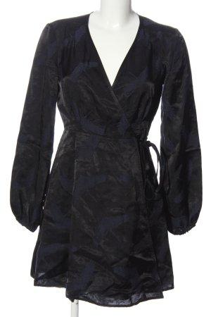 H&M Vestido cruzado negro estampado con diseño abstracto look casual
