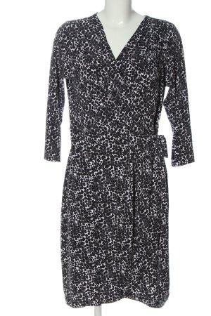 H&M Robe portefeuille noir-blanc imprimé allover élégant