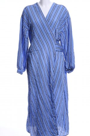 H&M Wickelkleid kornblumenblau-wollweiß Streifenmuster Casual-Look