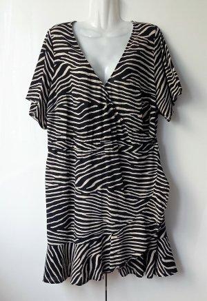 H&M Vestido playero negro-crema Algodón