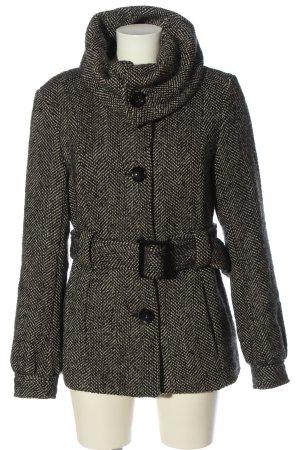 H&M Płaszcz zimowy czarny-w kolorze białej wełny Siateczkowy wzór
