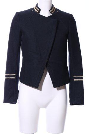 H&M Woll-Blazer dunkelblau-goldfarben Casual-Look