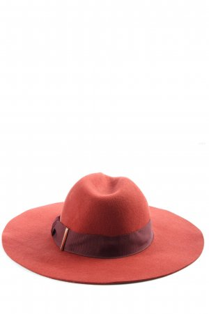 H&M Wollen hoed rood-zwart casual uitstraling