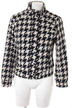H&M Wolljacke wollweiß-schwarz abstraktes Muster Casual-Look