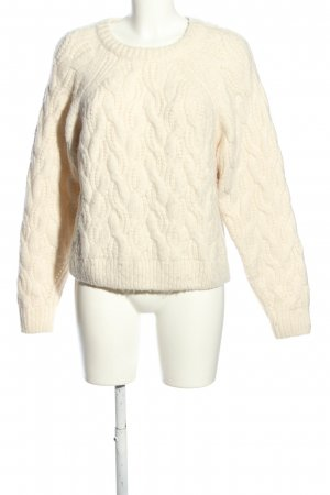 H&M Wollpullover wollweiß Zopfmuster Casual-Look