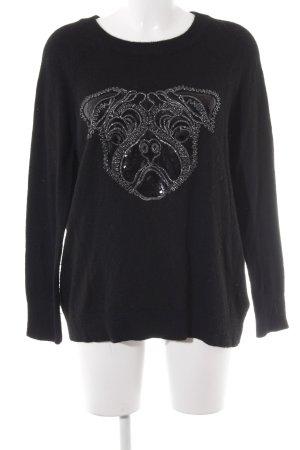 H&M Wollpullover schwarz-silberfarben Motivdruck Paillettenverzierung