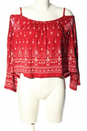 H&M x Coachella Collection Cropped Shirt rot-weiß Allover-Druck Casual-Look