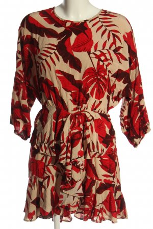 H&M x Johanna Oritz Long-Bluse rot-creme Allover-Druck Casual-Look
