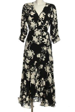 H&M x Johanna Oritz Wikkeljurk zwart-wolwit bloemenprint casual uitstraling
