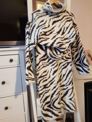H&M Robe en laine blanc-gris foncé