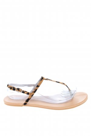 H&M Toe-Post sandals black-brown allover print casual look
