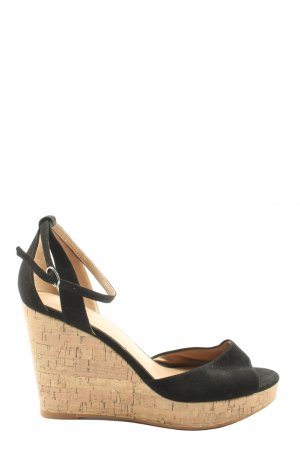 H&M Wedge Sandals black-natural white casual look
