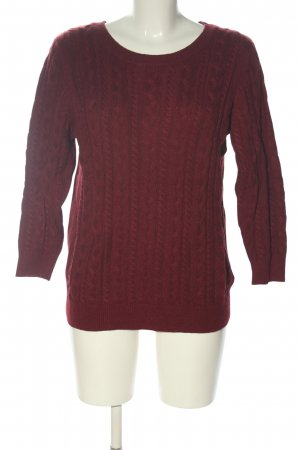 H&M Zopfpullover rot Zopfmuster Casual-Look