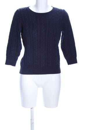 H&M Zopfpullover blau Zopfmuster Business-Look