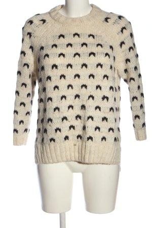 H&M Warkoczowy sweter kremowy-czarny Na całej powierzchni W stylu casual